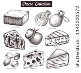 vector collection of cheese... | Shutterstock .eps vector #1142220572