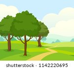vector landscape. green field... | Shutterstock .eps vector #1142220695