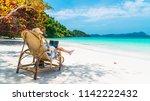 business man on summer vacation ... | Shutterstock . vector #1142222432