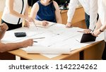 closeup of designers or... | Shutterstock . vector #1142224262