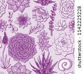 vector succulents seamless... | Shutterstock .eps vector #1142225228