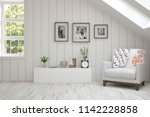 white room with armchair and... | Shutterstock . vector #1142228858