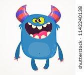 cartoon monster on tiny legs.... | Shutterstock .eps vector #1142240138