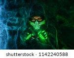 mysterious man in black wear ... | Shutterstock . vector #1142240588