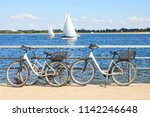 bicycles parked on embankment ... | Shutterstock . vector #1142246648