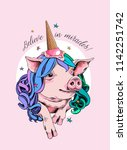 Vector illustration with cute Pig in the colored wig and in the ice cream party cap. Believe in miracles - lettering quote. Poster, t-shirt composition, handmade print.