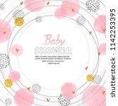 baby shower girl invitation... | Shutterstock .eps vector #1142253395