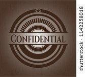 confidential retro style wood... | Shutterstock .eps vector #1142258018