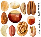 exotic nut set colorful low... | Shutterstock .eps vector #1142267672