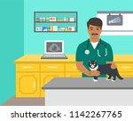 veterinarian doctor holds dog... | Shutterstock .eps vector #1142267765