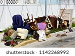 a pile of household furnishings ... | Shutterstock . vector #1142268992