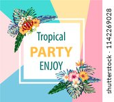 tropical flowers and palms... | Shutterstock .eps vector #1142269028