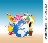 travel summer illustration with ... | Shutterstock .eps vector #1142269565
