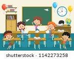 vector illustration of kids... | Shutterstock .eps vector #1142273258