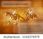 jockeys on racing horses over...   Shutterstock .eps vector #1142274575