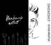girl model with makeup....   Shutterstock .eps vector #1142292542