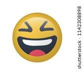 glossy button happy smile emoji ... | Shutterstock .eps vector #1142308898