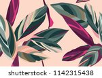 Stock vector floral seamless pattern leaves of cordelia on a pink background 1142315438