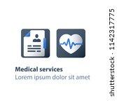 health check up  heart pulse... | Shutterstock .eps vector #1142317775