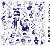 christmas  new year   doodle set | Shutterstock .eps vector #1142342342