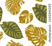 seamless hand drawn botanical... | Shutterstock .eps vector #1142344355