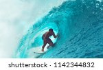 close up  exreme athlete surfs... | Shutterstock . vector #1142344832