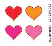 set of 4 heart illustration in...   Shutterstock .eps vector #1142347022