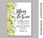 floral sunflower wedding... | Shutterstock .eps vector #1142351318