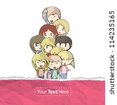 many children behind a torn... | Shutterstock .eps vector #114235165
