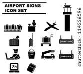 airport icon set  black   Shutterstock .eps vector #114236596