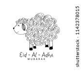 cute funny sheep  vector...   Shutterstock .eps vector #1142378015