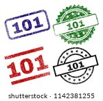 101 seal prints with distress...   Shutterstock .eps vector #1142381255
