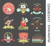 set of color vintage emblems... | Shutterstock .eps vector #1142385452