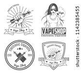 set of 4 vintage emblem.for... | Shutterstock .eps vector #1142385455