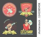 color vintage emblem.for vape... | Shutterstock .eps vector #1142385458
