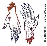 witch gothic hands in different ... | Shutterstock .eps vector #1142392892