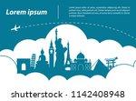 world  top famous landmark... | Shutterstock .eps vector #1142408948