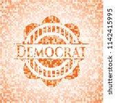 democrat orange mosaic emblem | Shutterstock .eps vector #1142415995