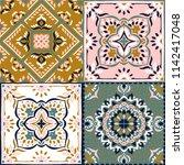 talavera pattern.  indian... | Shutterstock .eps vector #1142417048