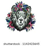 the drawn lion in flowers.... | Shutterstock . vector #1142423645