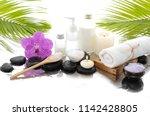 spa still life with black...   Shutterstock . vector #1142428805