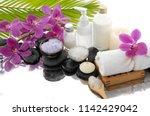 spa still life with black...   Shutterstock . vector #1142429042