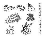raster version. fruit and berry ... | Shutterstock . vector #1142433392