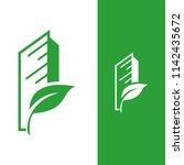 eco house leaf vector logo ... | Shutterstock .eps vector #1142435672