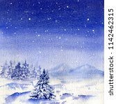 watercolor night  snowfall and...   Shutterstock . vector #1142462315