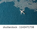plane fly on painted map africa ...   Shutterstock . vector #1142471738