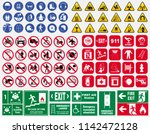 set of mandatory sign  hazard... | Shutterstock .eps vector #1142472128
