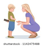 mother asks her son to give... | Shutterstock .eps vector #1142475488