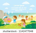 little girl is plaing with... | Shutterstock .eps vector #1142477048