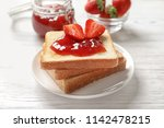 tasty toast bread with... | Shutterstock . vector #1142478215